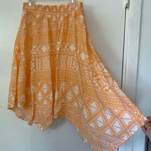 Coral aztec skirt